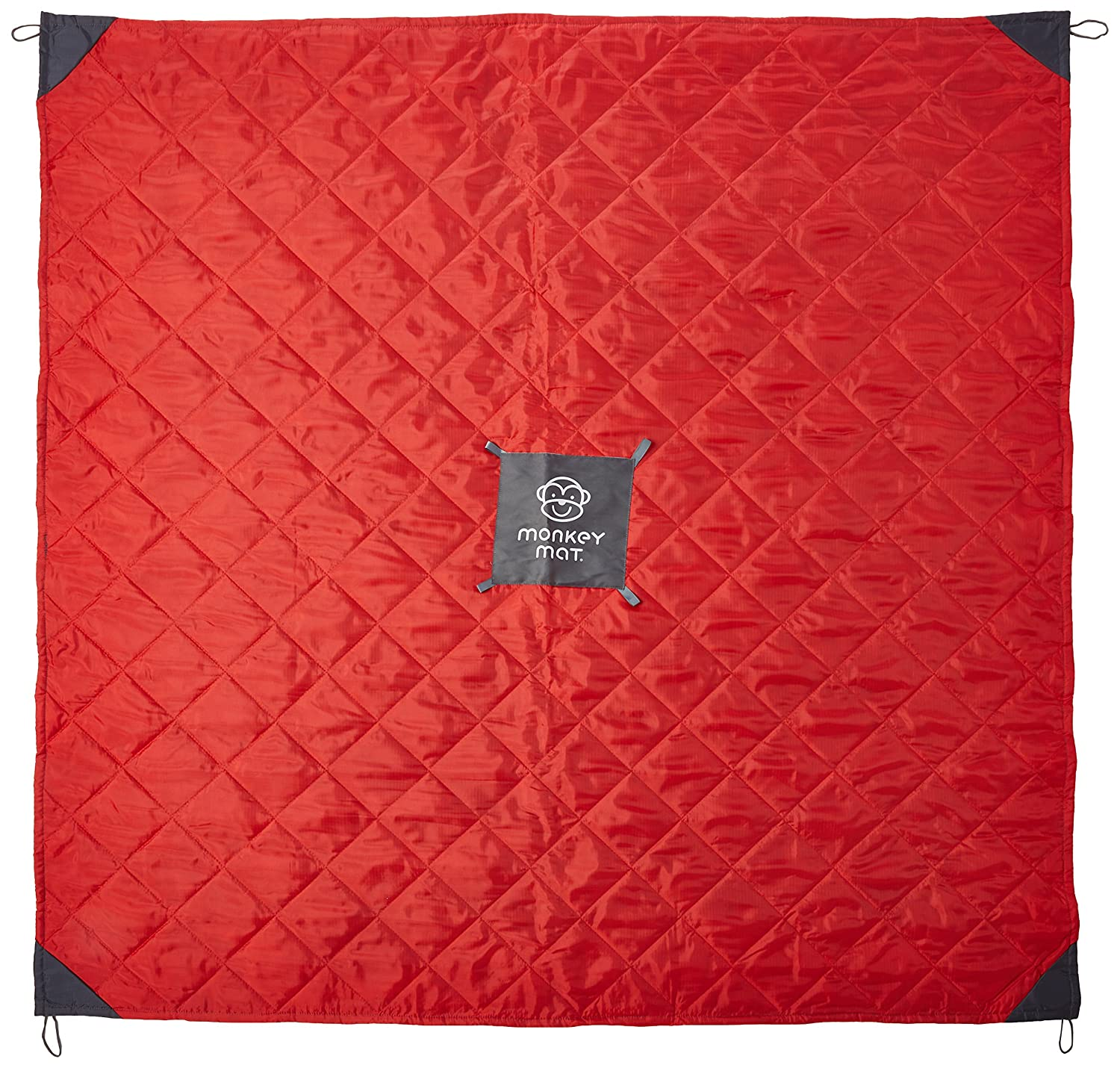 Monkey Mat - Quilted Mat   Lightweight Luxurious Water Repellant Blanket with Corner Weights - 5' x 5' (Gray)
