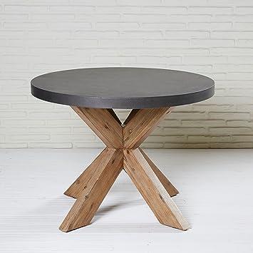 Esstisch Rund 110 Cm Tisch Grau Polystone Akazie Für Garten Und Terrasse