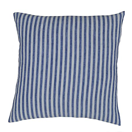 Luxury Linen Damask Navy Blue And White Striped 24x24 Large Square Pillow  Cover Shams Multicolor Ticking