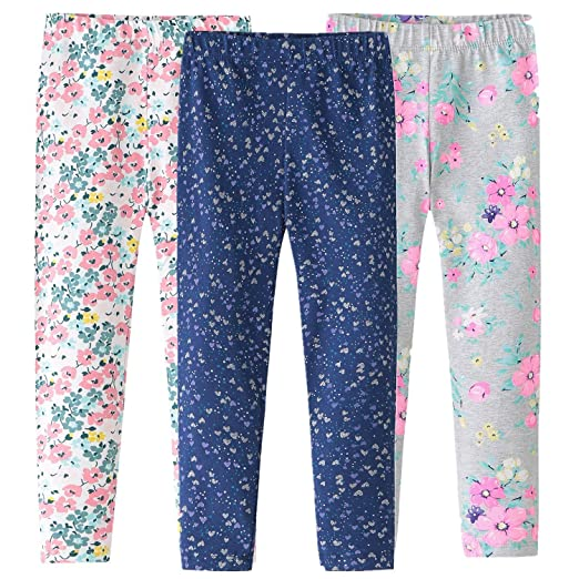 c8a4cd6a2c95a Simple J&M 3 Packs Girls Leggings Pants Cotton Stretch Printing Flower Toddler  Leggings Kids (Printed