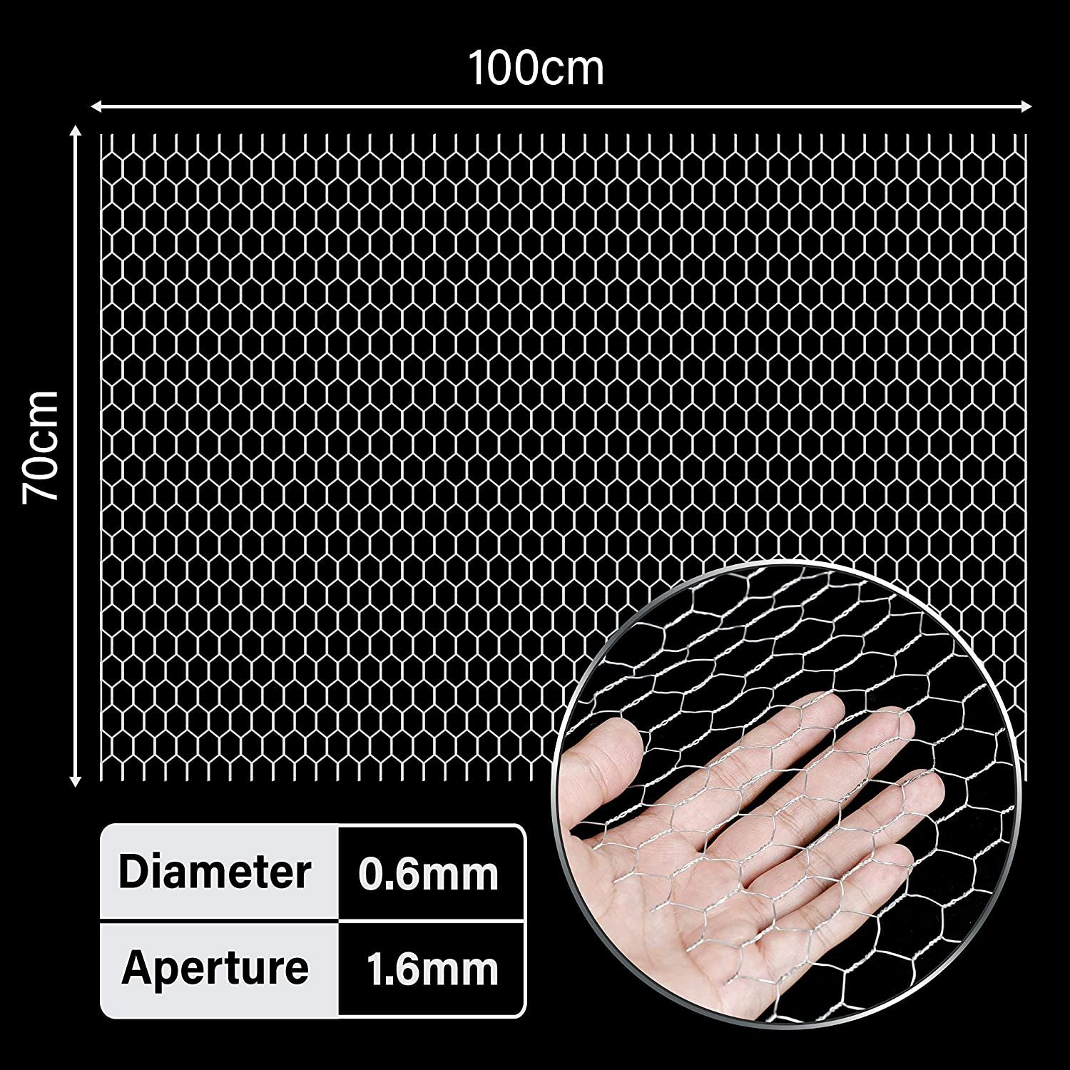 Chicken Wire Frame for Crafts Floral Netting 70 x 100 cm for Gardening Chicken Wire Fence Galvanized Hexagonal Fencing Wire 27.5 x 39.3 inch Poultry Fencing