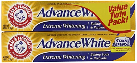 Arm & Hammer Advance White Extreme Whitening Baking Soda and Peroxide Toothpaste, 6 Ounce, Twin Pack