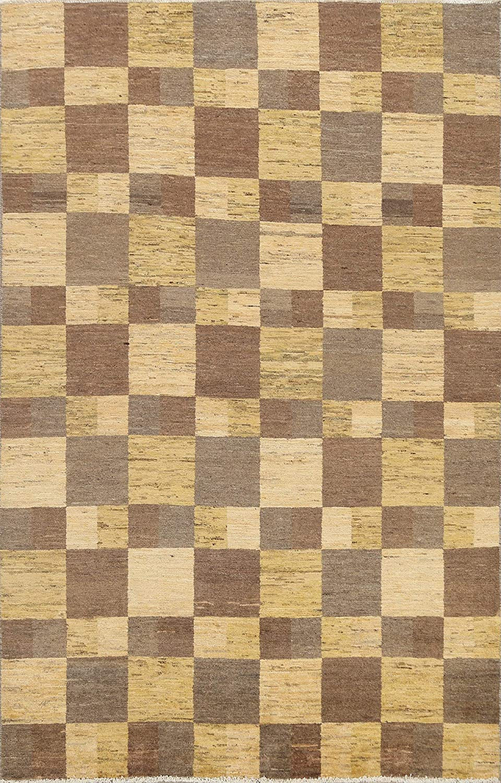 Contemporary Checkered Gabbeh Kashkoli Oriental Area Rug Wool Hand-Knotted Carpet 6x8 (5' 9'' x 7' 7'')