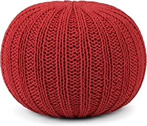SIMPLIHOME Shelby Round Hand Knit Pouf, Footstool, Upholstered in Candy Red Cotton, for the Living Room, Bedroom and Kids Room, Transitional, Modern