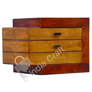 India Craft Sheesham End Table, Wood Bedside Table for Bedroom with 2 Drawer Side Table