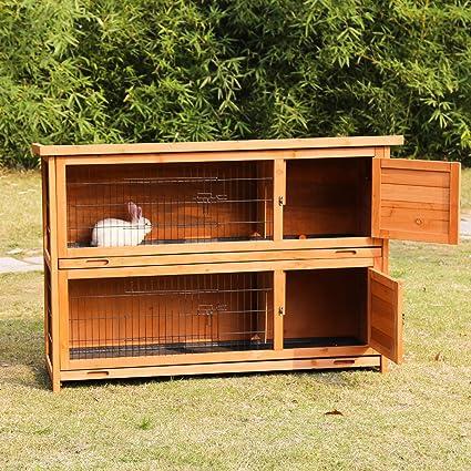 Amazon Com Kinbor 2 Story Rabbit Hutch Bunny Cage Indoor Outdoor