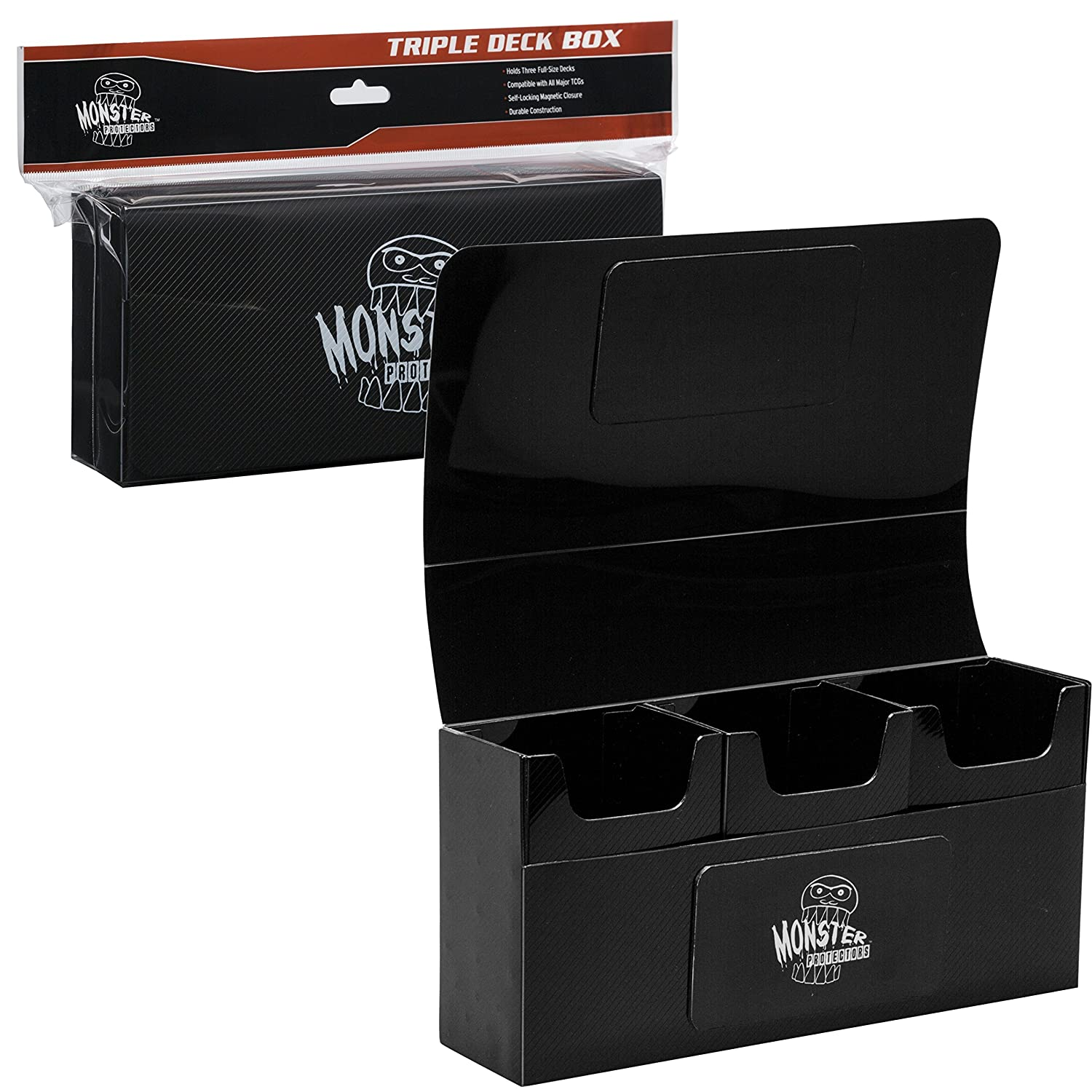 Deck box magnetic triple deck box black by monster for Sideboard yugioh