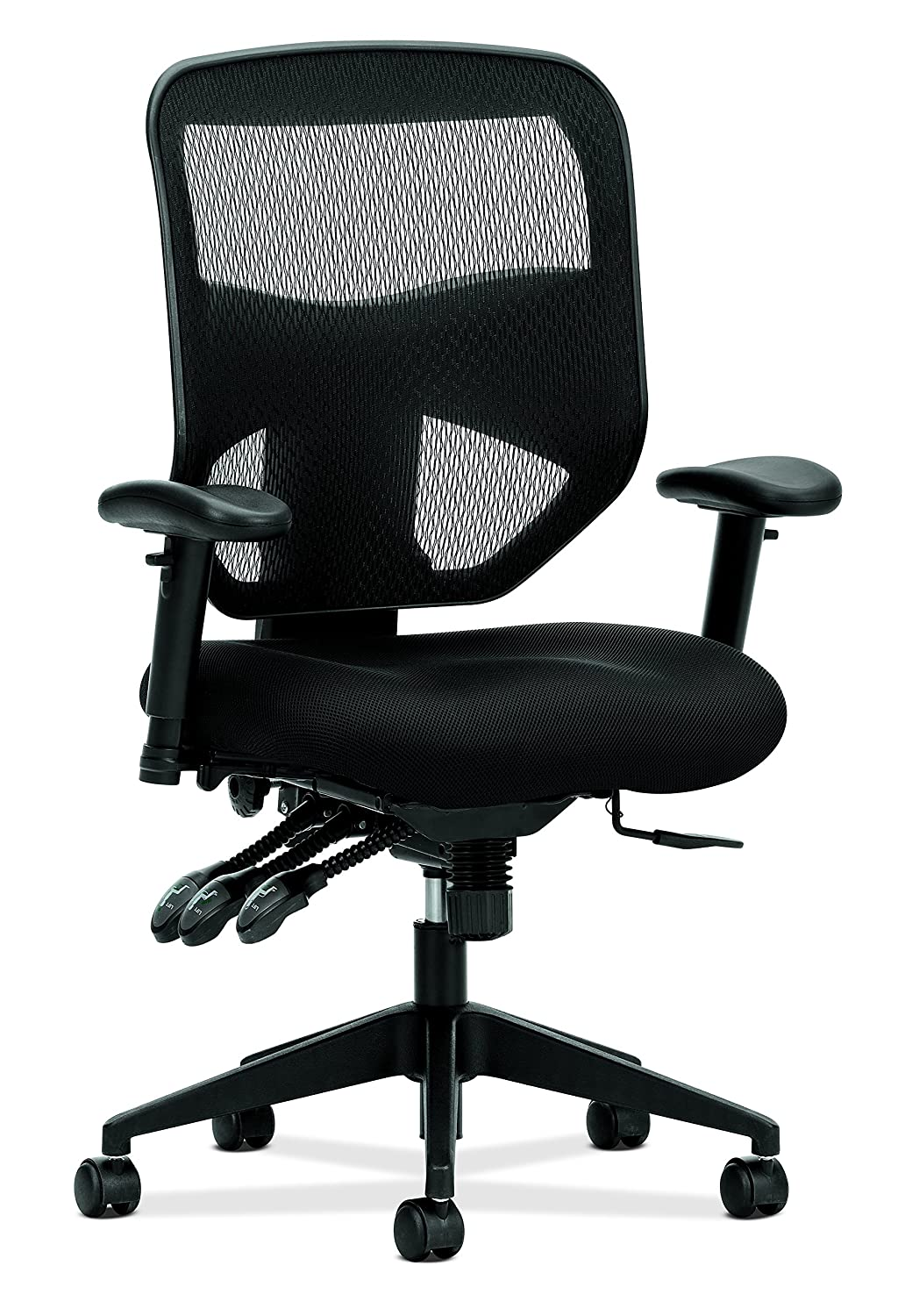 basyx by HON High Back Task Chair - Mesh Computer Chair with Arms for Office Desk - Black (HVL532)
