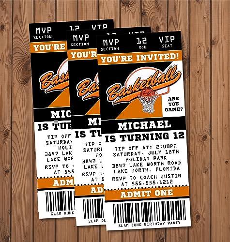 amazon com basketball birthday party ticket invitations handmade