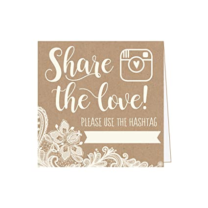 Amazon 25 Kraft Lace Wedding Hashtag Signs Rustic Vintage