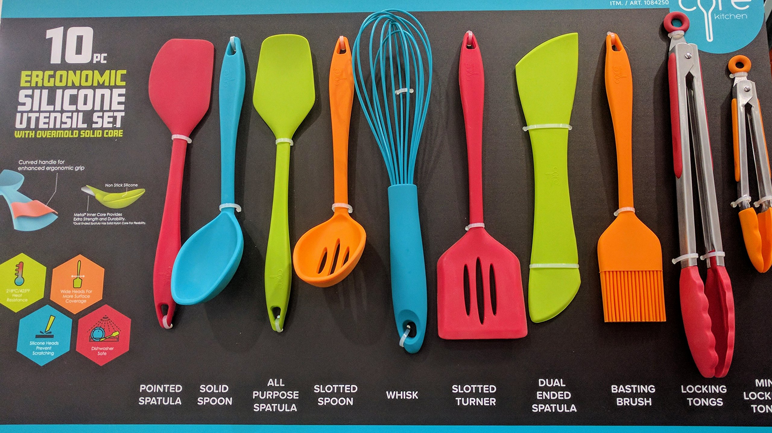 Core Kitchen 10 Piece Silicone Utensil Set in Assorted Colors with ...