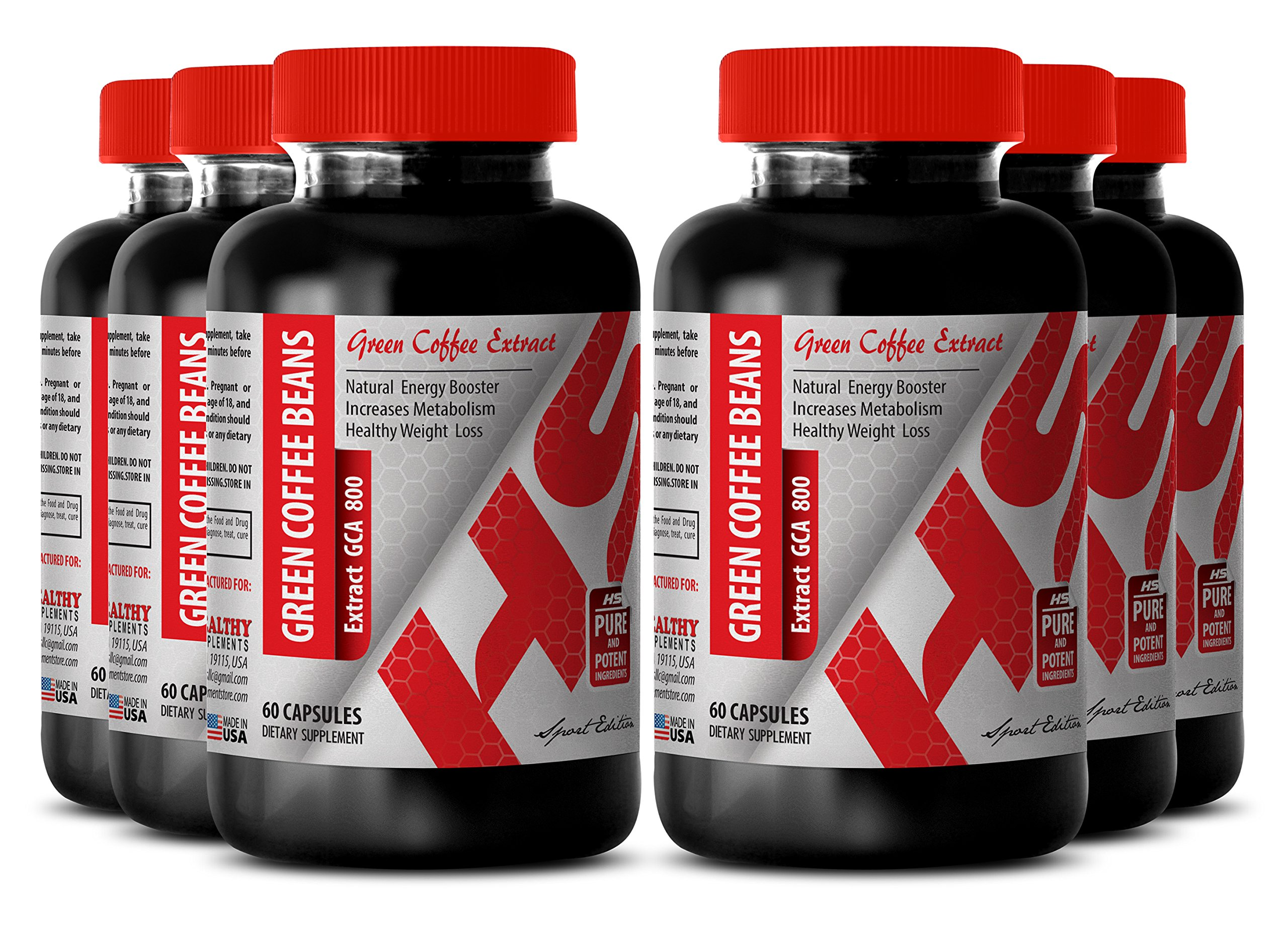 Natural green coffee - GREEN COFFEE BEAN EXTRACT 800 MG - burn fat (6 Bottles)