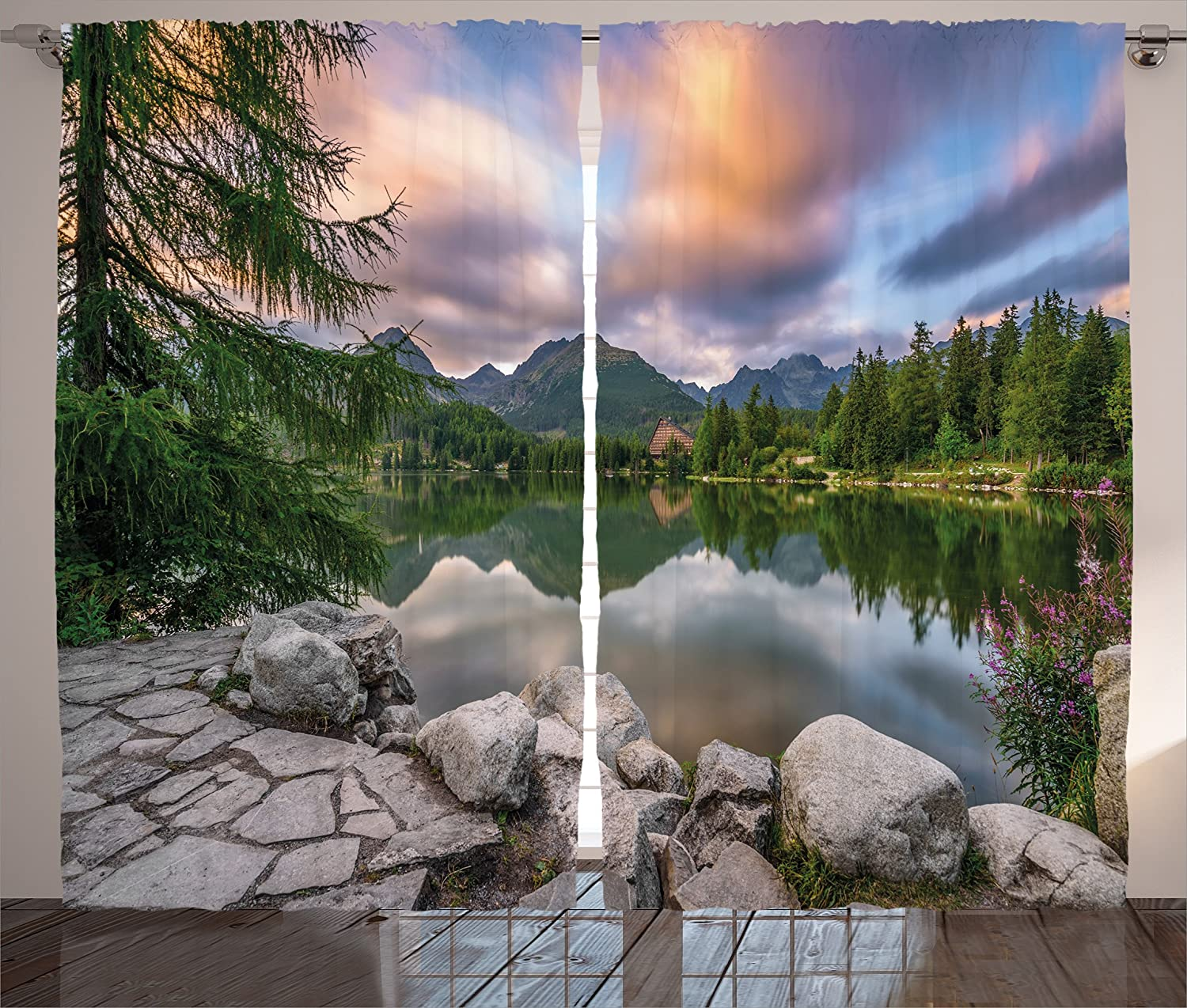 Ambesonne Mountain Curtains, Idyllic View with Tree on Still Lake Surrounded by Mountains and Moody Sky Image, Living Room Bedroom Window Drapes 2 Panel Set, 108