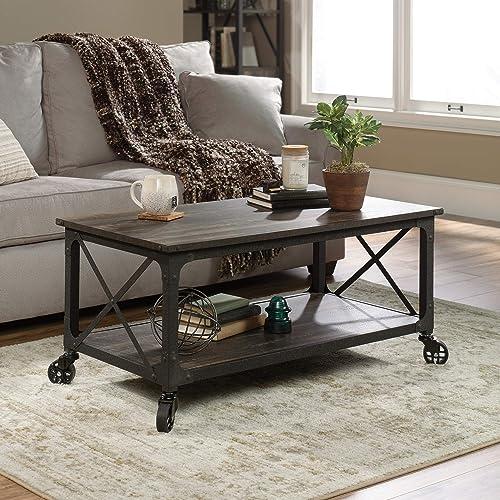 Sauder Steel River Coffee Table, L 42.91 x W 24.21 x H 18.5 , Carbon Oak