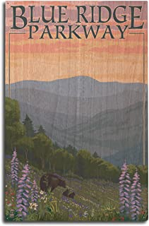 product image for Lantern Press Blue Ridge Parkway, Virginia - Bear Family and Spring Flowers (10x15 Wood Wall Sign, Wall Decor Ready to Hang)