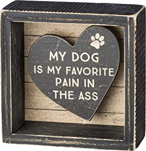 Primitives by Kathy 39374 Rustic Reverse Box Sign, 4 x 4-Inches, My Dog is My Favorite
