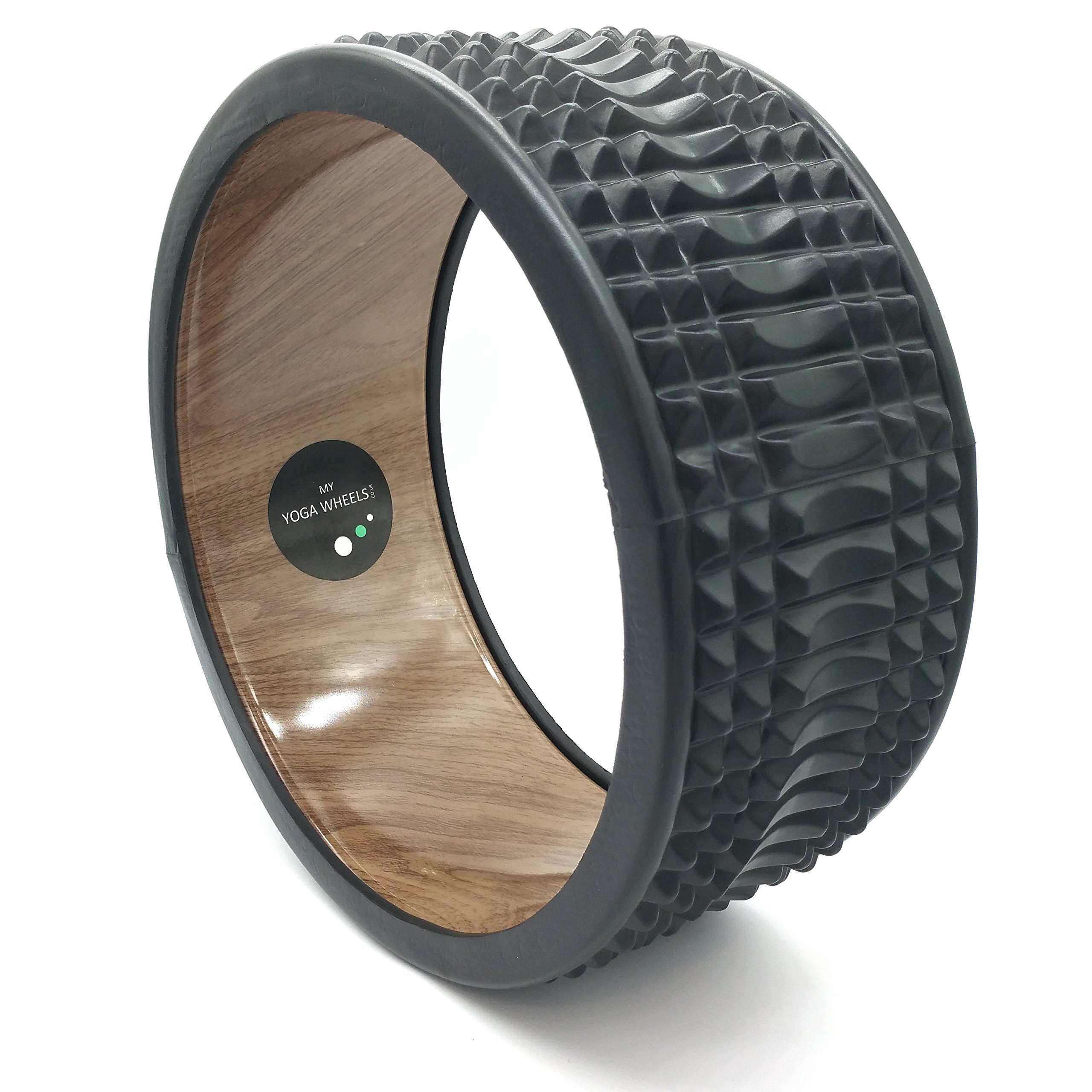 MyYogaWheels Trigger Point Yoga Wheel - Release Deep Tissue Tension - Physio Massage to Open Chest, Back, Hips + Shoulders (Wood + Black) by MyYogaWheels