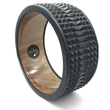 Rueda de yoga MyYogaWheels Trigger Point - Tensión de alivio de tejido profundo - Cofre de fisioterapia abierto, espalda, caderas + hombros (Rumble Wood + Black)
