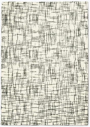 Calvin Klein Home Calvin Klein Tucson White and Grey 5'x8' Area Rug 5'3″X7'5″ Ivory