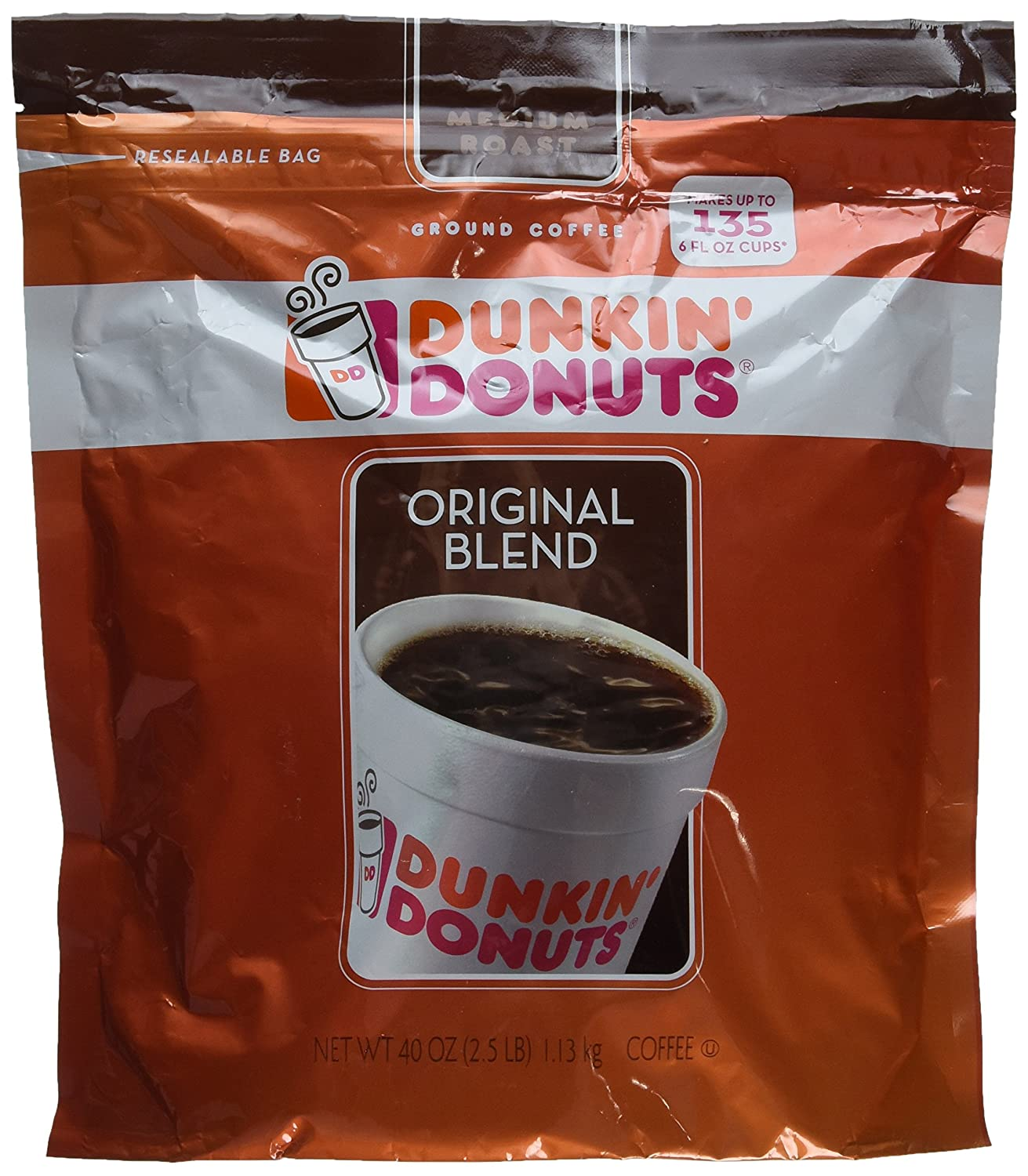 a5da65818ee Amazon.com : Dunkin' Donuts Original Medium Roast Blend Coffee, 2.5 lb :  Grocery & Gourmet Food