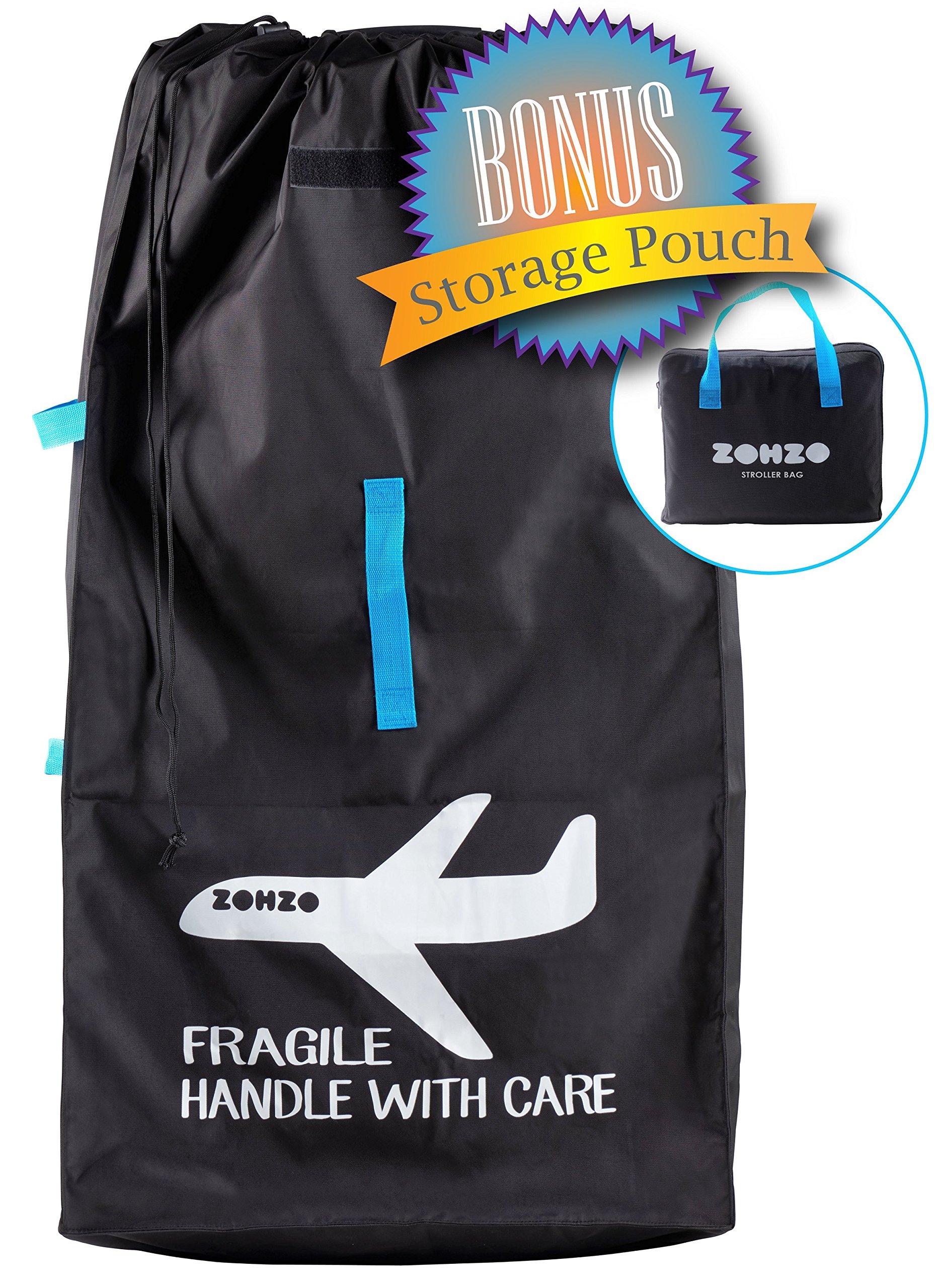Zohzo Drawstring Stroller Travel Bag - For Air Travel with Double Stroller, Single Stroller, or Umbrella Stroller (Black)