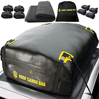 Car Top Carrier Roof Bag + Protective Mat - 100% Waterproof & Coated Zippers 15 Cubic ft - for Cars with or Without Racks: Automotive [5Bkhe0411286]