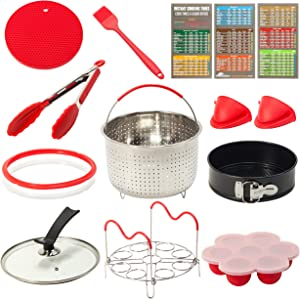 8 Qt Accessories Set for Instant Pot, Compatible with InstaPot Accessories 8 Quart Only  Steamer Basket, Springform Pan, Glass Lid, Sealing Rings, Steamer Rack, Egg Bites Molds, Magnetic Cheat Sheet