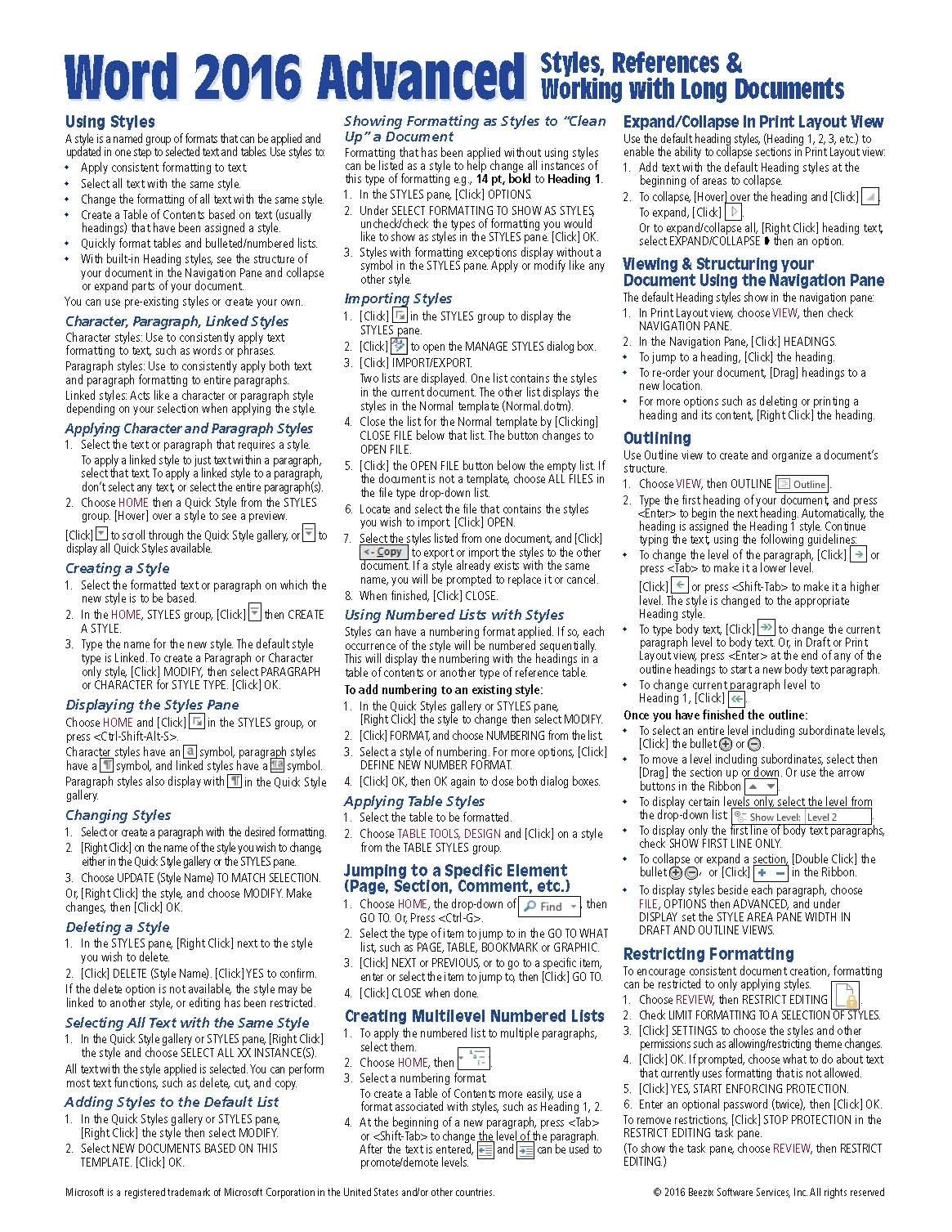 Microsoft Word 2016 Advanced Quick Reference Guide - Windows Version ...