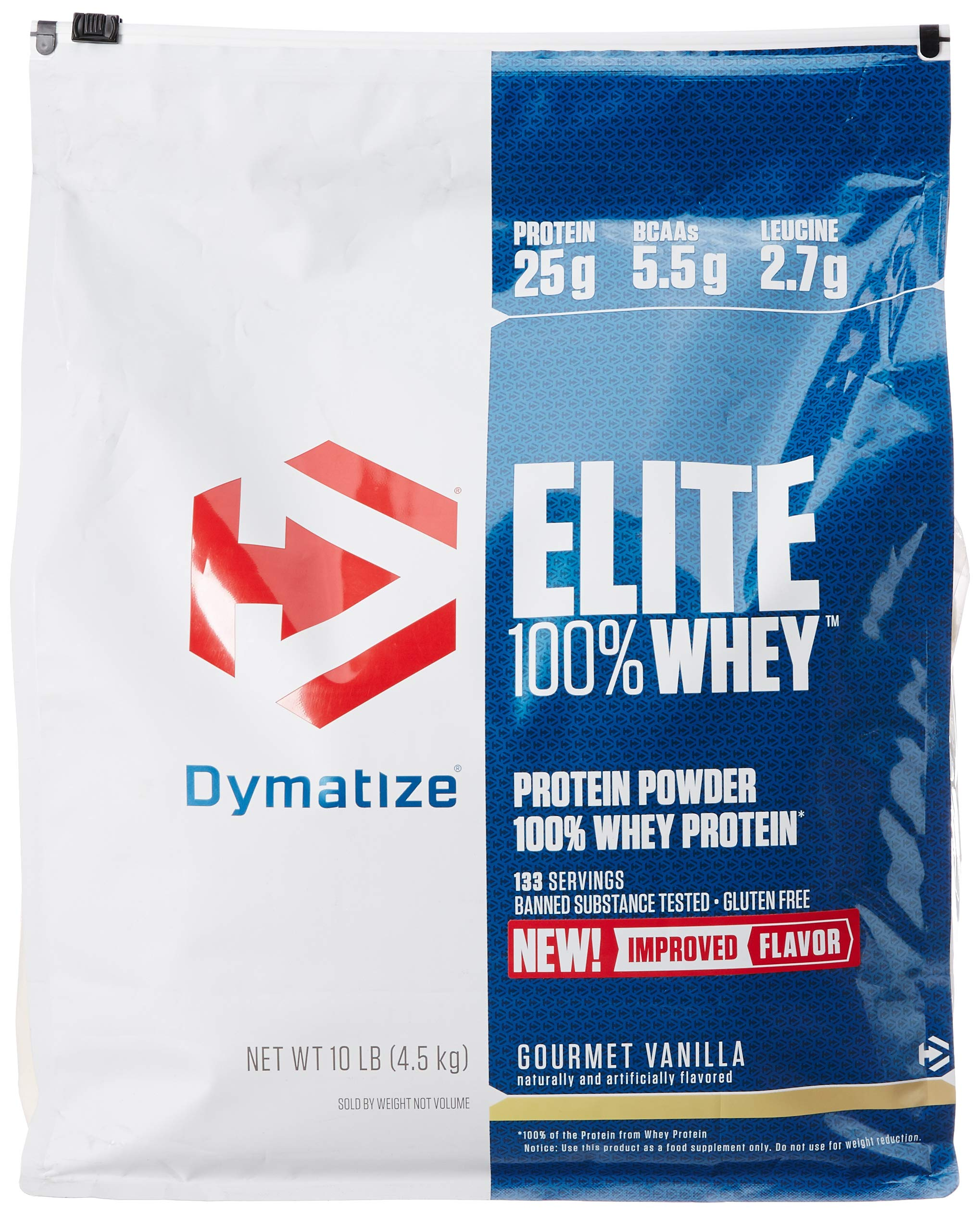 Dymatize Elite 100% Whey Protein Powder, Take Pre Workout or Post Workout, Quick Absorbing & Fast Digesting, Gourmet Vanilla, 10 Pound by Dymatize (Image #1)