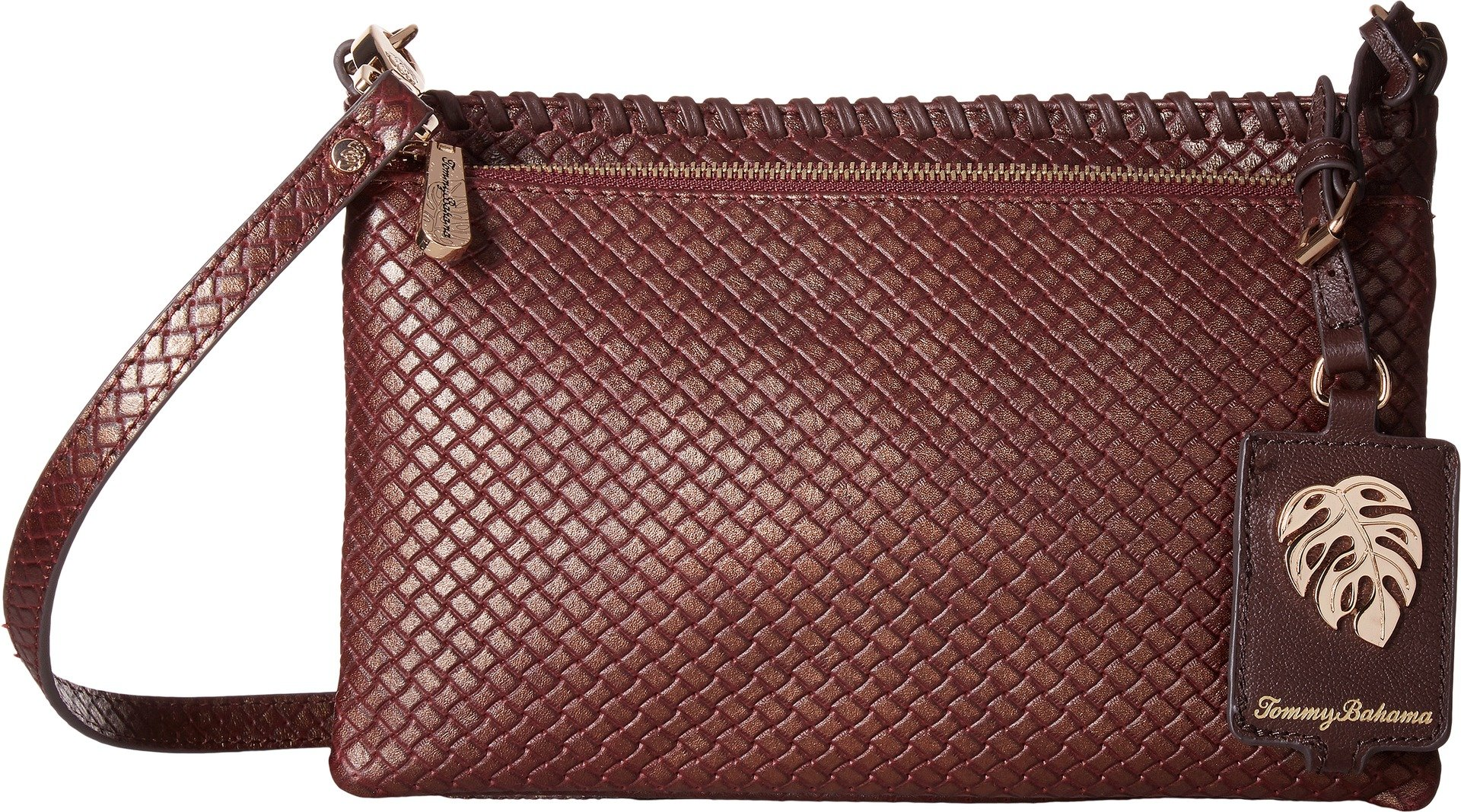 Tommy Bahama Womens Exumas Double Top Zip Crossbody Dark Chestnut/Gold Tipping One Size
