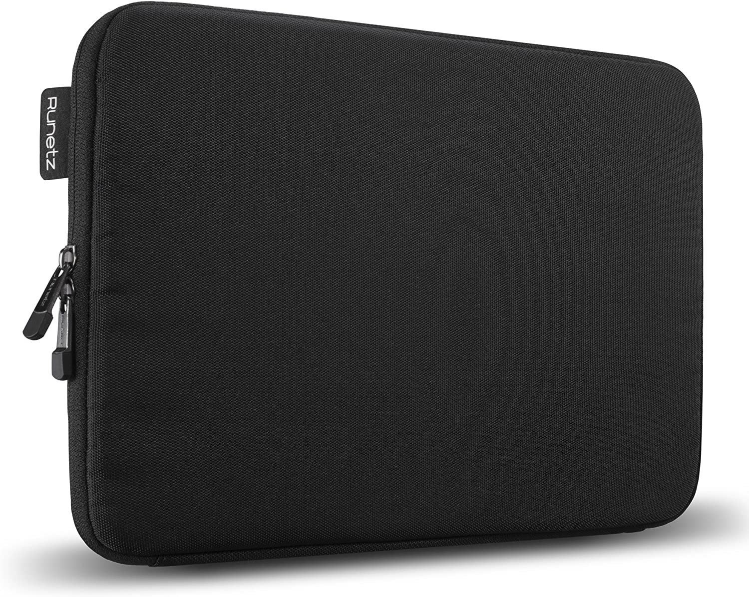 Runetz - MacBook 12 inch Sleeve Soft Laptop Sleeve 11 inch MacBook Air 11.6 inch Sleeve Notebook Computer Bag Protective Case Cover with Zipper - Black