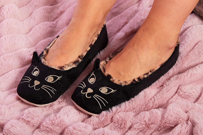 Ladies Slipper Pug Dog Cat Animal Character Ballet Slip On Slippers Novelty
