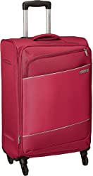 American Tourister Timor Polyester 55 cms Red Softsided Cabin Luggage (AMT Timor Spinner 55CM - RED)