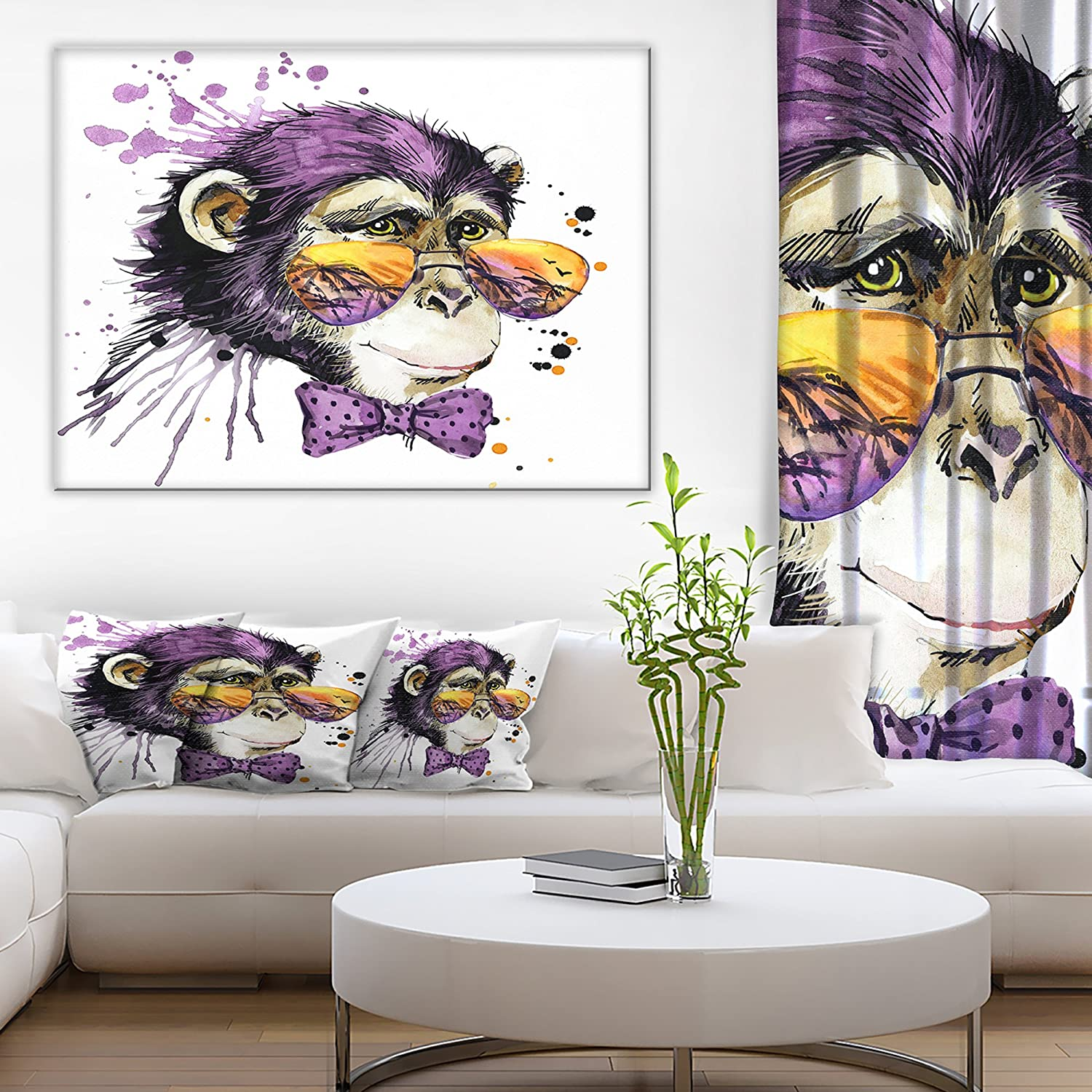Purple Designart PT6037-30-30 Cool Monkey Animal Canvas Artwork 30x30