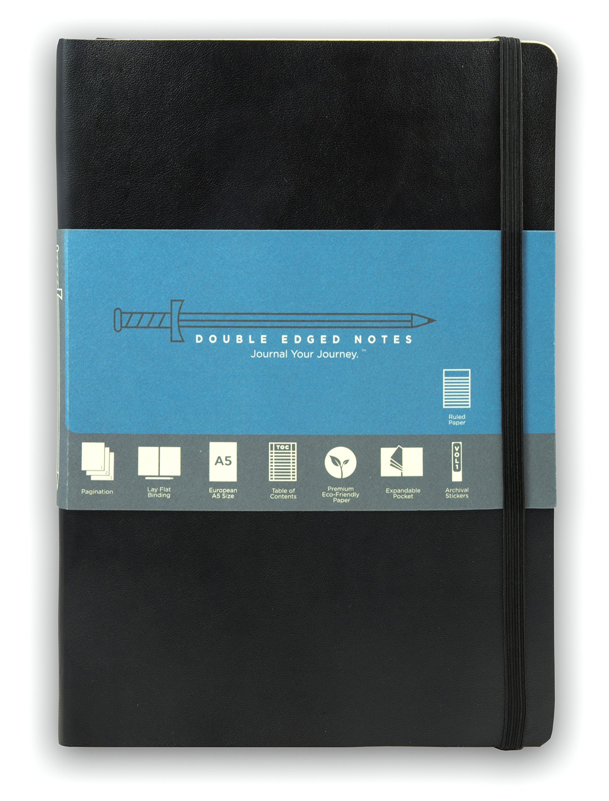 Black Softcover Journal with Ruled Pages: DIY Table of Contents, 185 Numbered Pages, Archival Stickers, Premium Paper 5.75'' x 8.25'', Pocket, Bookmark. Perfect Bible Journal or Diary.