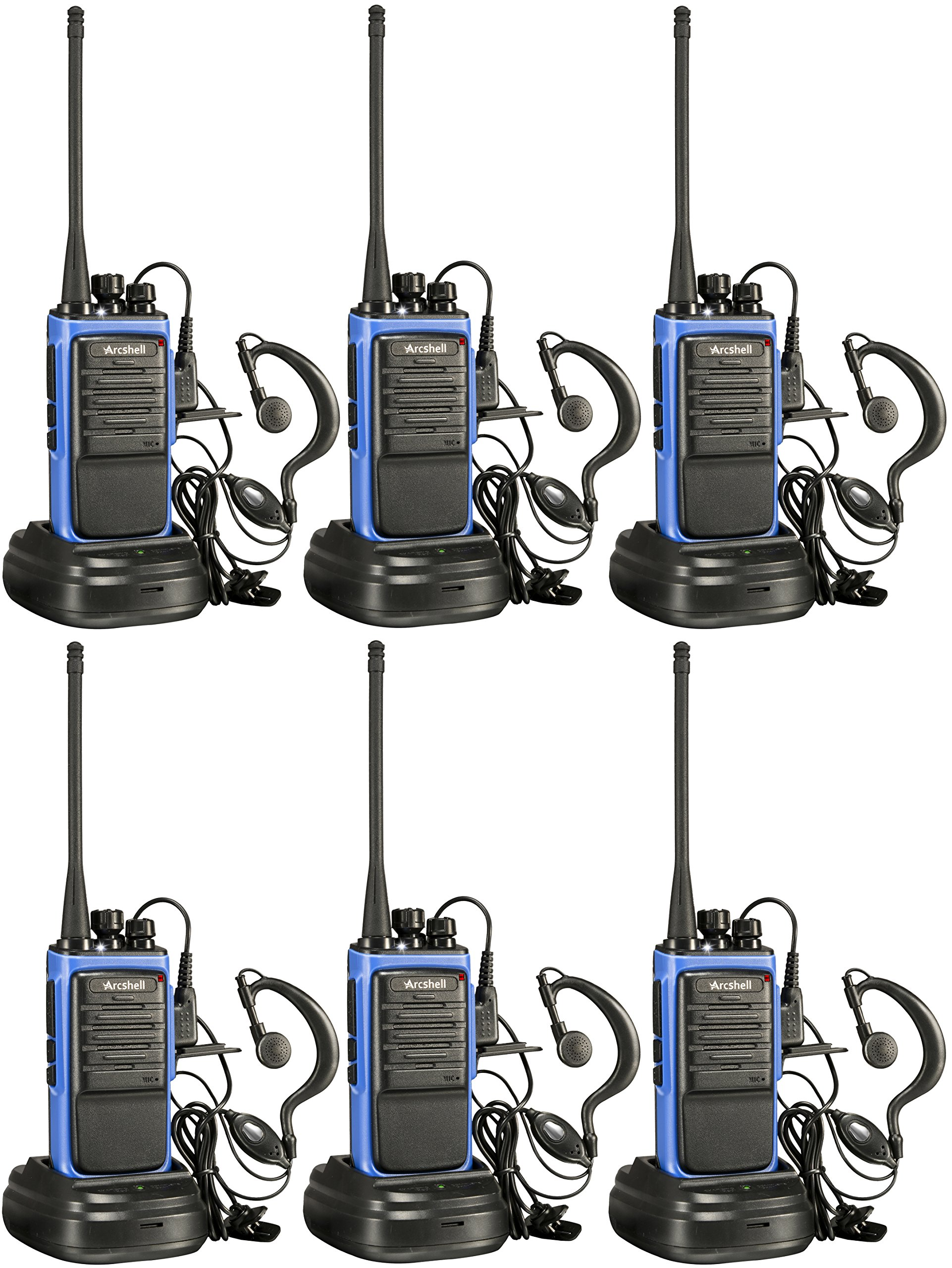 Arcshell Rechargeable Long Range Two-Way Radios with Earpiece 6 Pack UHF 400-470Mhz Walkie Talkies Li-ion Battery and Charger Included by Arcshell