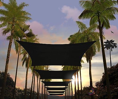 Amgo Custom Size 22' x 23' Black Rectangle Sun Shade Sail ATAPR1416 Canopy Awning