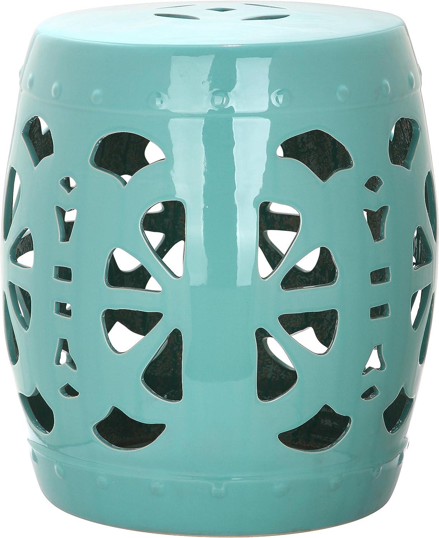 Light Blue Safavieh Stencil Blossom Ceramic Decorative Garden Stool