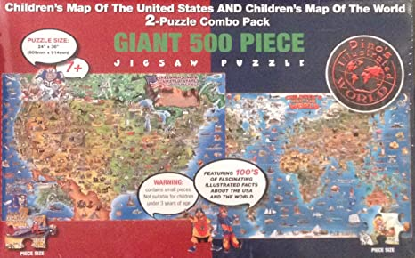 Amazon.com: Children\'s Map of the United States and Map of the World ...
