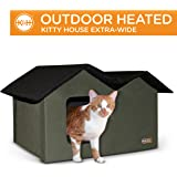 "K&H Pet Products Outdoor Heated Kitty House Extra-Wide Olive/Black 26.5"" x 15.5"" x 21.5"" 20W"