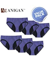 Anigan StainFree Menstrual Period Panties (Blue Hipster Lace Trim) Large