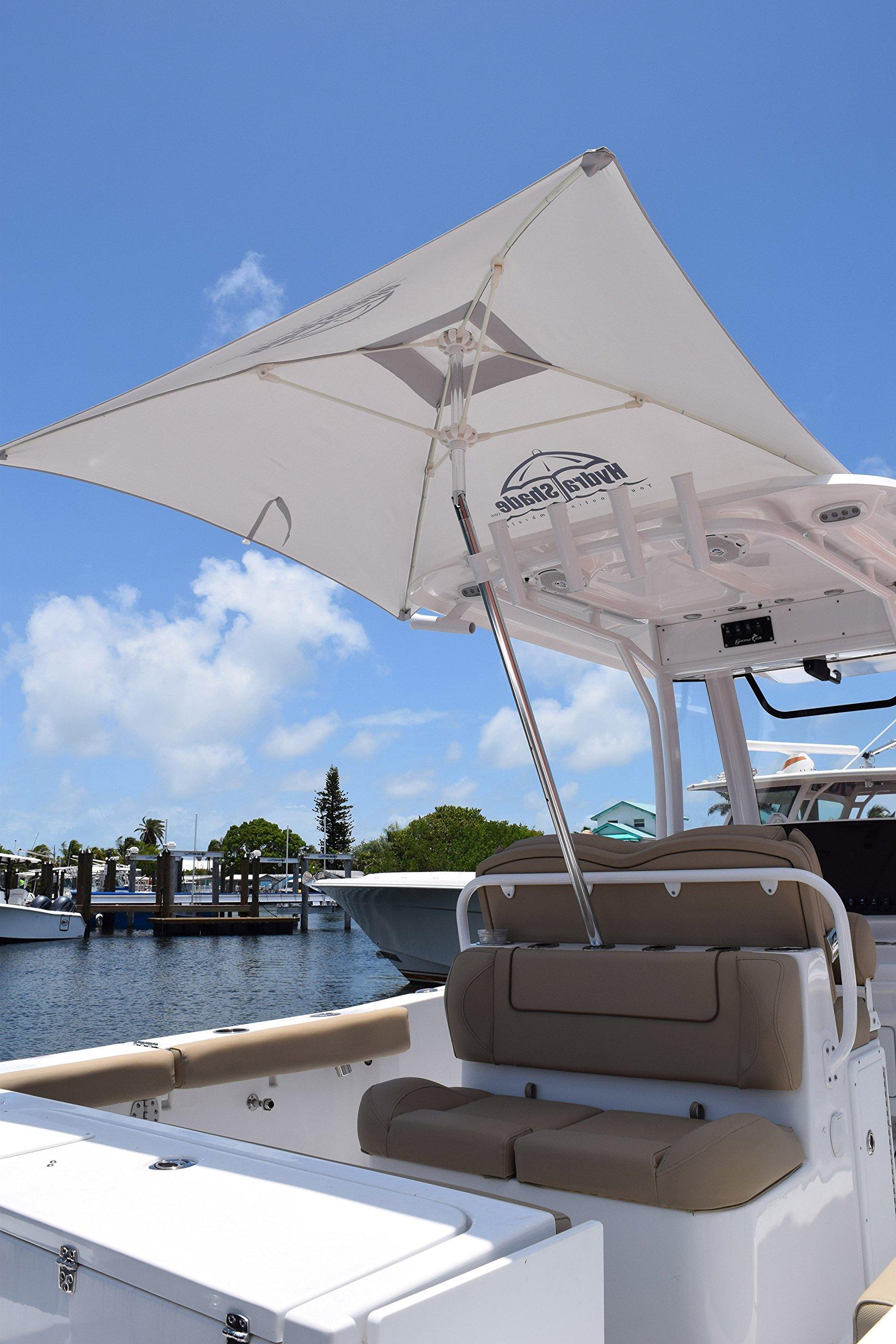 Hospitality Rattan XL-150 Hydra Shade 8' Square Boating & Beach Umbrella Kit, White by Hospitality Rattan (Image #2)