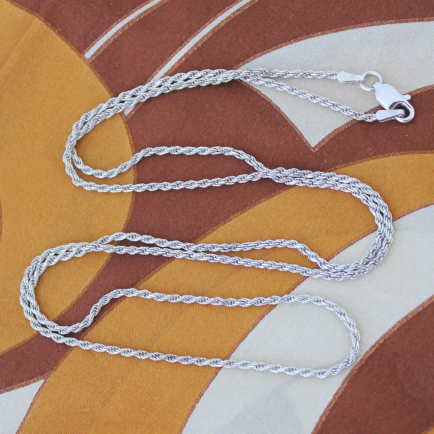 Solid Sterling Silver Rhodium Plated Italian 1.7 Millimeter Rope Chain Necklace