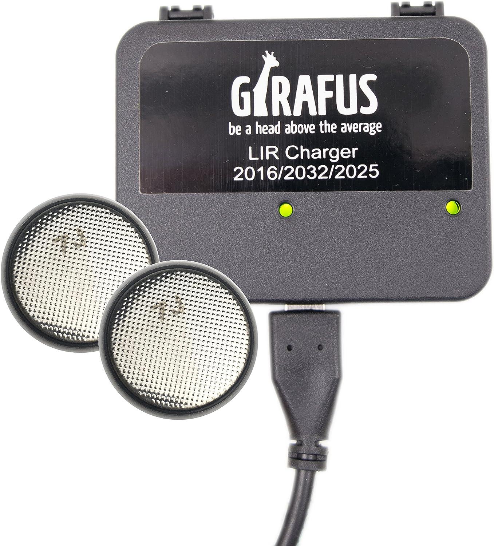 Cargador de Batería marca Girafus para Pila Botón Recargable LIR 2032/2016 / 2025 –  Icluye 2 Baterías LIR2032 3.7V, Cargador Universal tipo USB