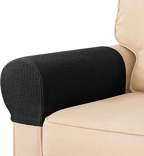 1 Pair Anti-slip Sofa Armrest Covers Furniture Settee Arm Slipcover Beige
