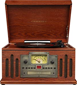 Crosley CR704B-PA Musician 3-Speed Turntable with Radio, CD/Cassette Player, Aux-in and Bluetooth, Paprika