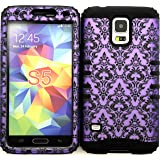 Wireless Fones TM Samsung Galaxy S5 Case Dual Layer Hybrid Impact Resistant Protective Case Purple Victorian Damask Flower on Over Black Skin