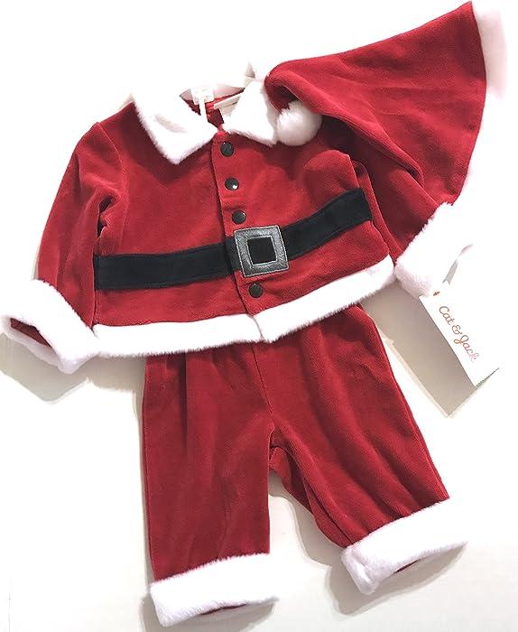 f63008d1df53 Amazon.com  Baby Boys  3 Piece Santa Set Red - Cat   Jack Baby (3-6M ...