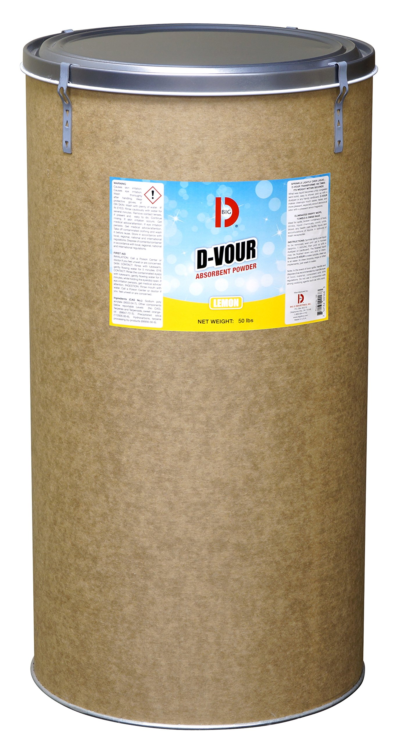 Big D 168 D-Vour Absorbent Powder, Lemon Fragrance, 50 lb Container - Absorbs accidental spills for easy clean-up - Ideal for use in schools, restaurants, health care facilities, grocery stores