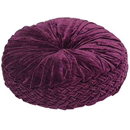 Amazon BrandWave Decorative Round Throw Pillow Rouched Velvet Magnificent Round Decorative Bed Pillows